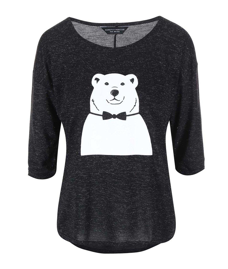 Černé třpytivé tričko s ledním medvědem Dorothy Perkins