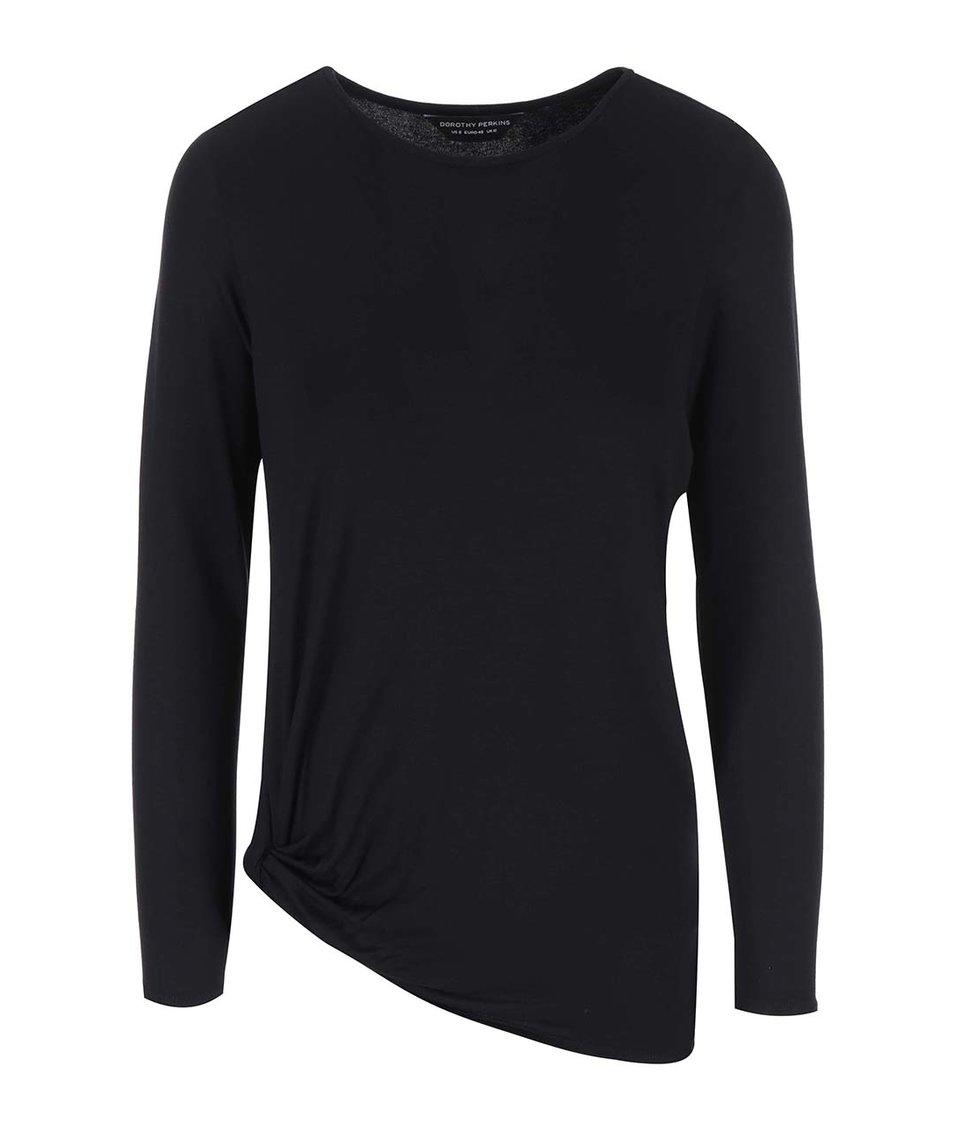 Černé tričko s jemným řasením Dorothy Perkins