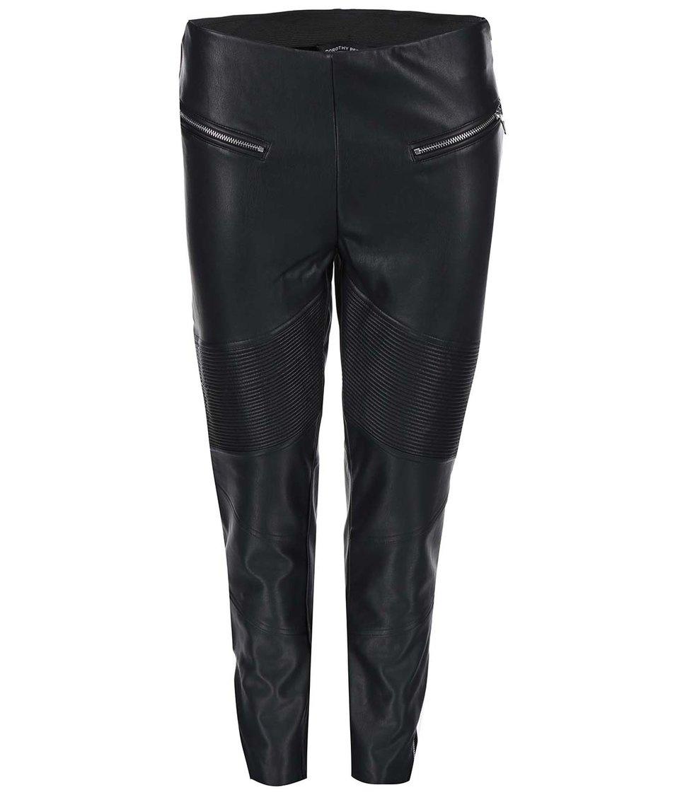 Černé koženkové kalhoty se zipy Dorothy Perkins