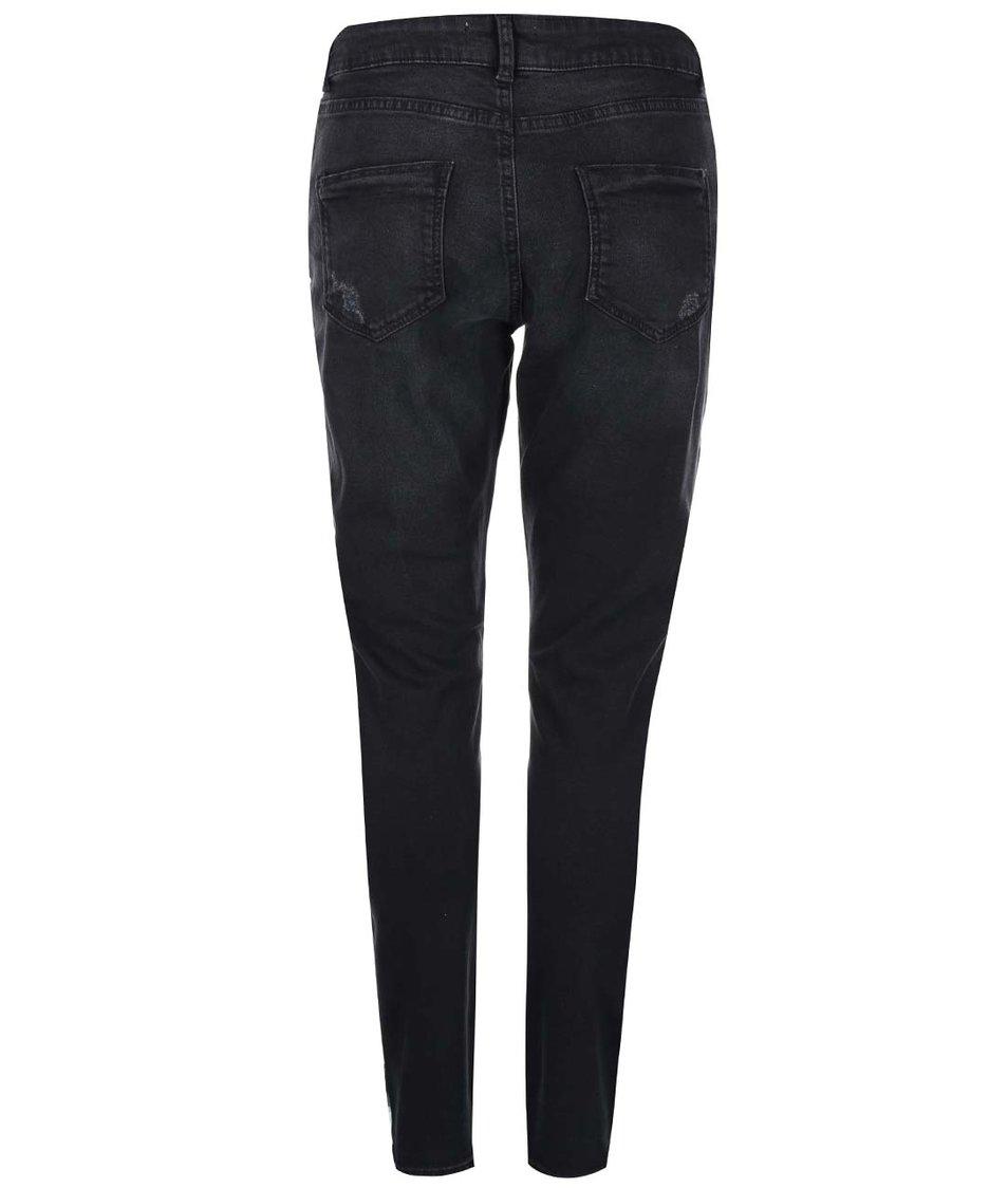 Černé skinny džíny s potrhanými detaily Dorothy Perkins
