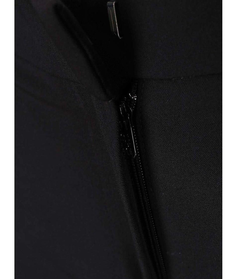 Černé formální kalhoty s koženkovými detaily Dorothy Perkins