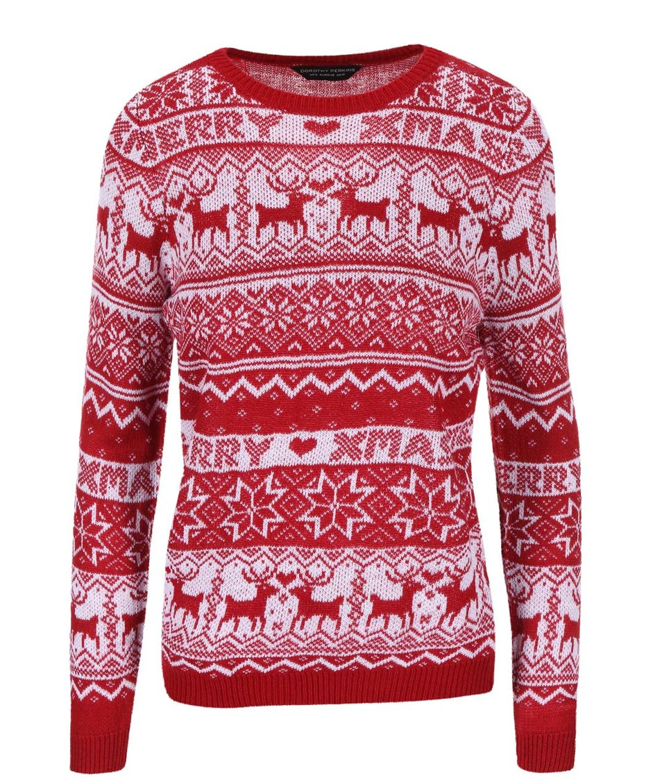 Bílo-červený svetr s vánočním motivem Dorothy Perkins