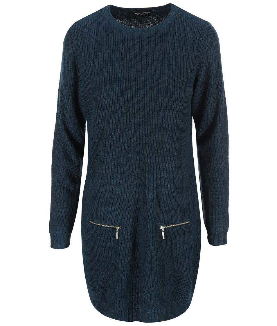 Petrolejové svetrové šaty Dorothy Perkins