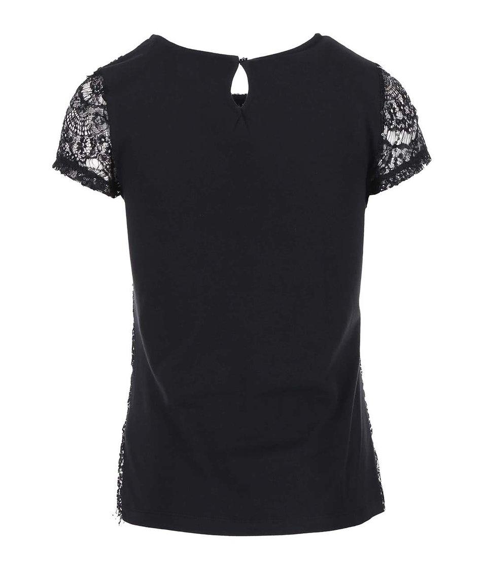 Černé krajkové tričko s flitry Dorothy Perkins