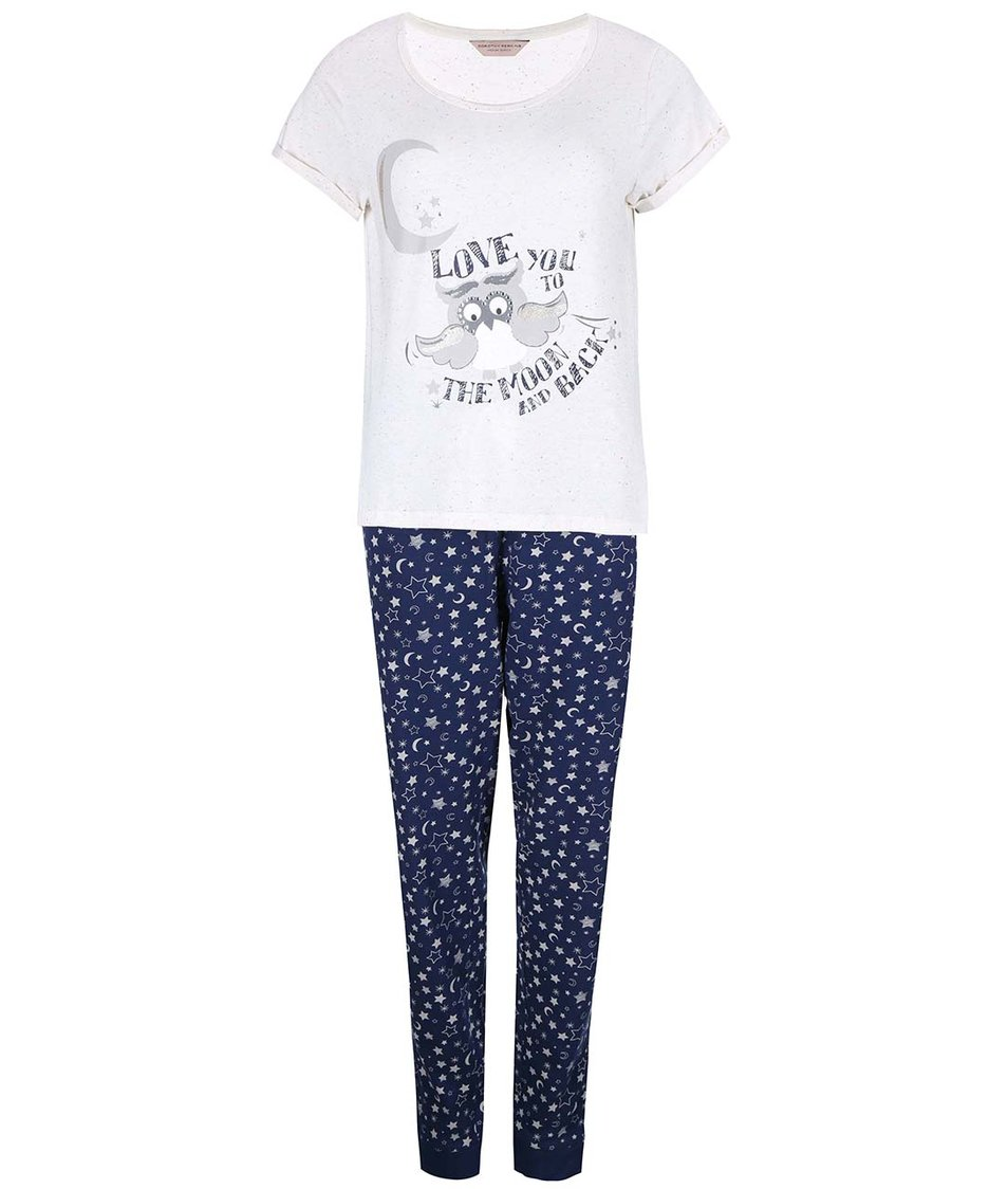Krémovo-modré pyžamo se sovou Dorothy Perkins