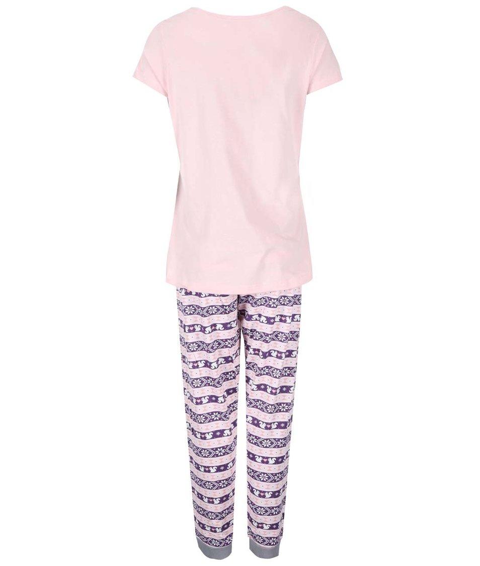 Fialovo-růžové pyžamo s veverkou Dorothy Perkins
