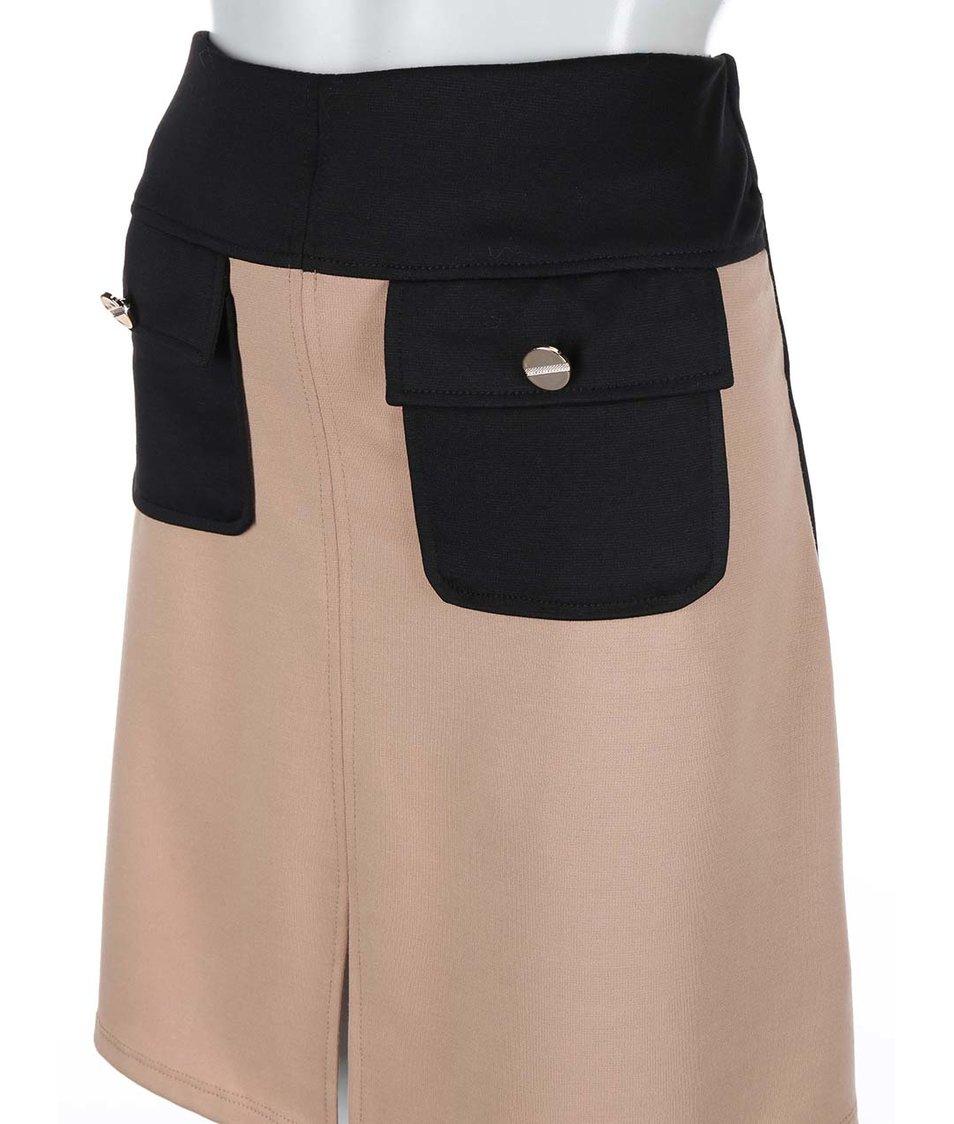 Černo-béžová sukně s kapsami Dorothy Perkins
