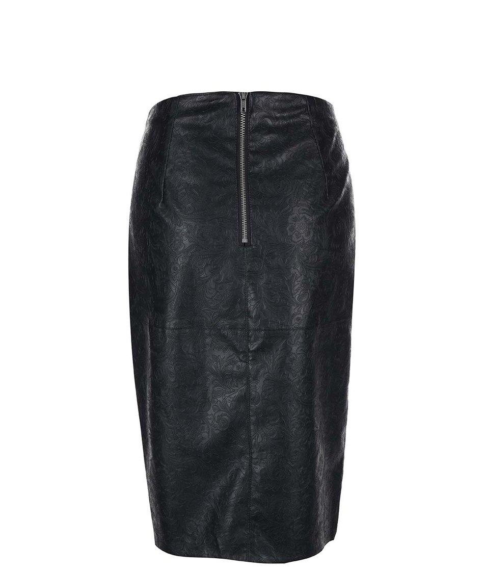 Černá koženková pouzdrová sukně Dorothy Perkins
