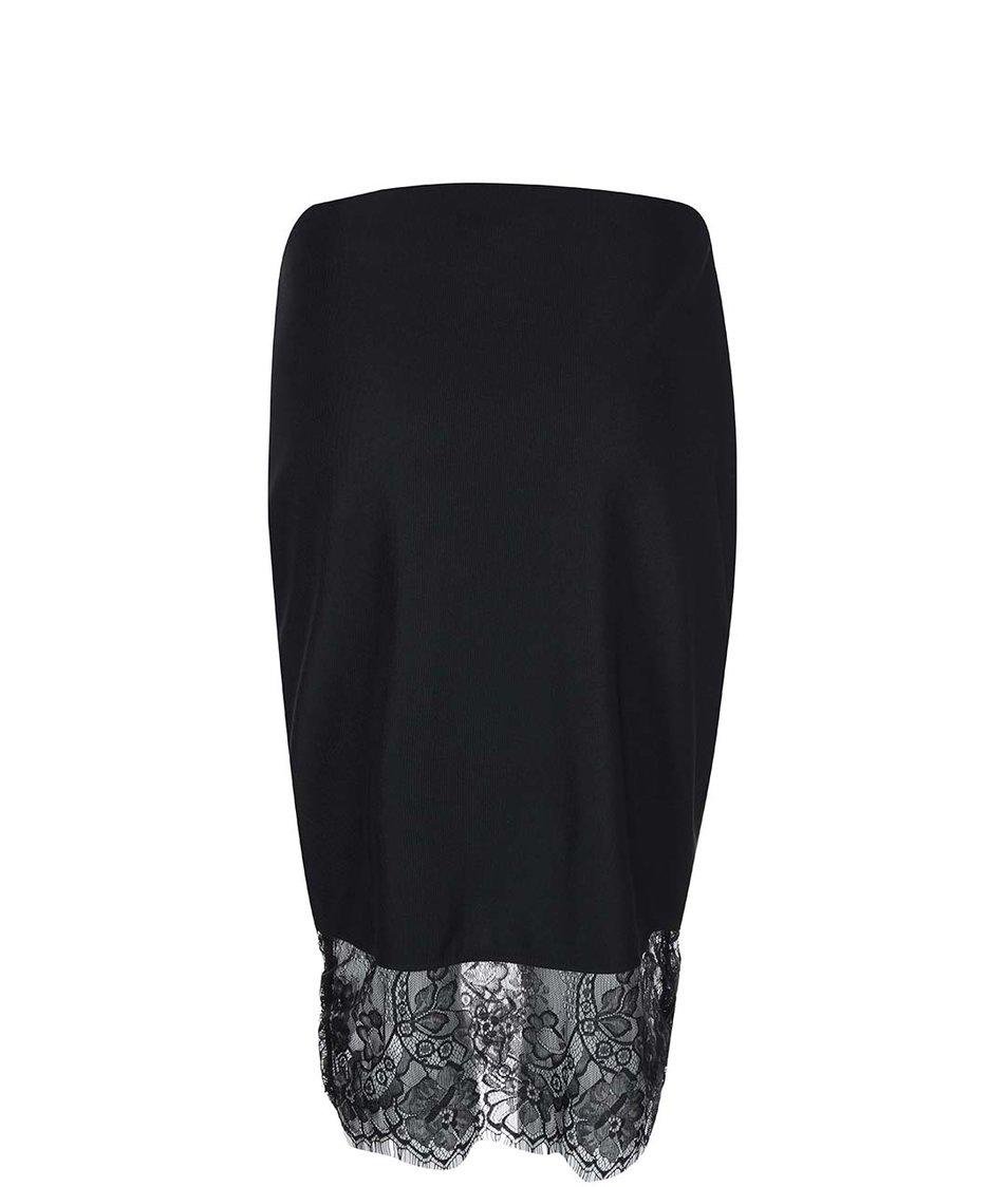 Černá sukně s krajkovaným lemem Dorothy Perkins
