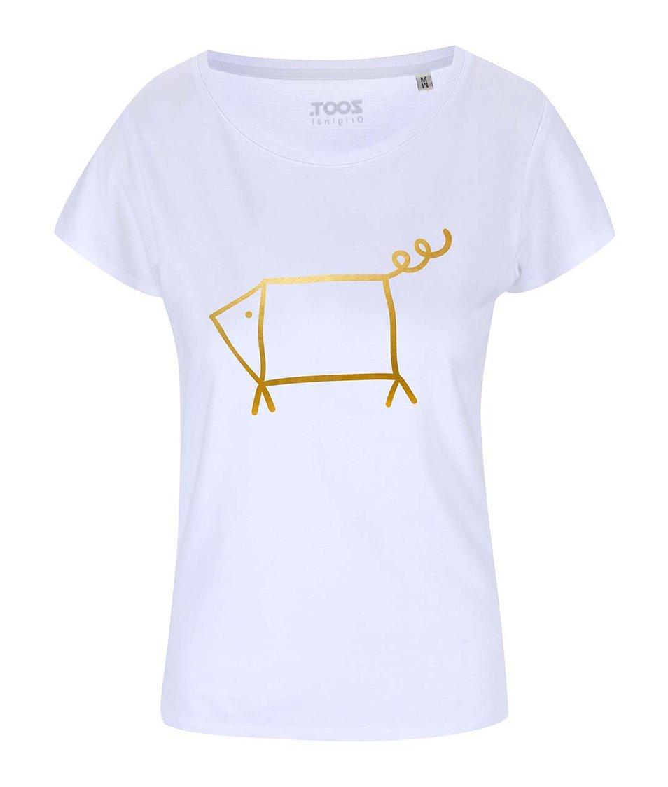 Bílé dámské tričko ZOOT Originál Zlatý prase