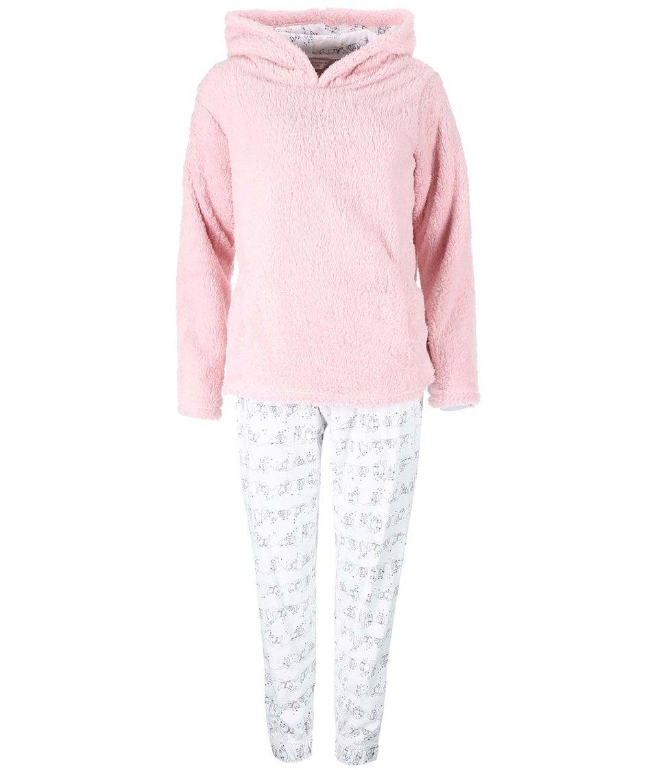 Krémovo-růžový komplet mikiny a kalhot s kočičkami Dorothy Perkins