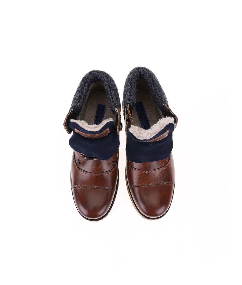 Hnědé pánské kožené kotníkové boty s umělou kožešinou bugatti Fox