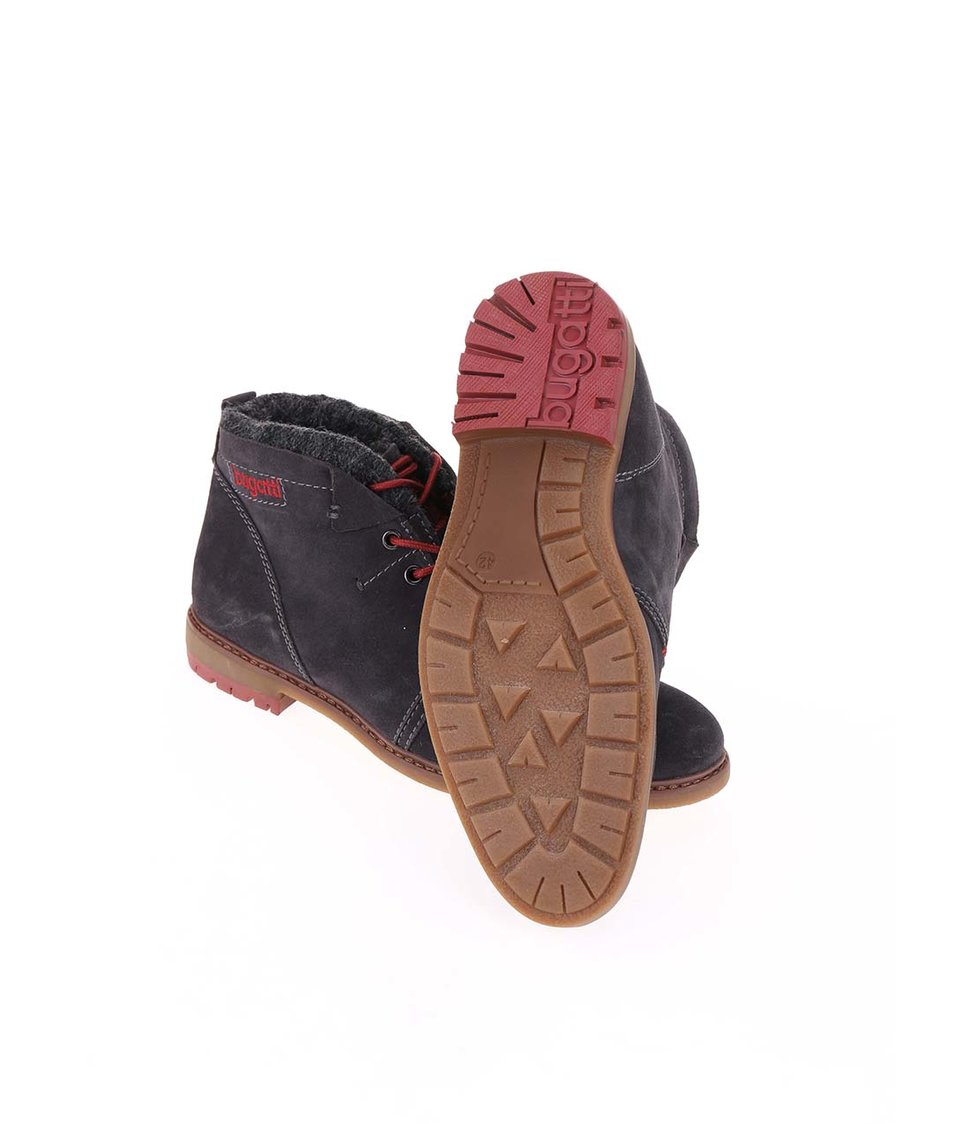 Tmavě šedé pánské kožené kotníkové boty s umělou kožešinou bugatti Roy