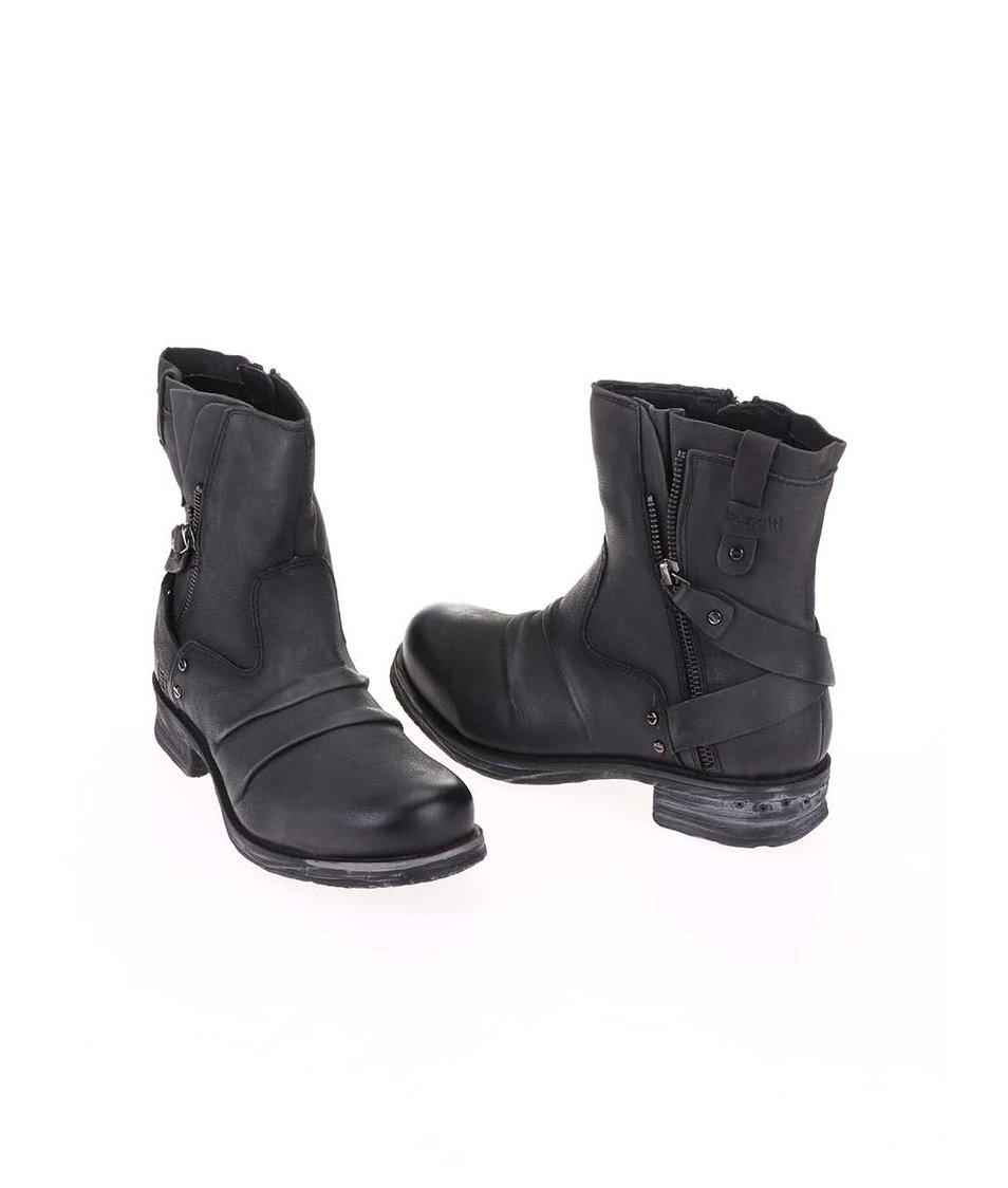 Tmavě šedé dámské kožené kotníkové boty bugatti Alexia