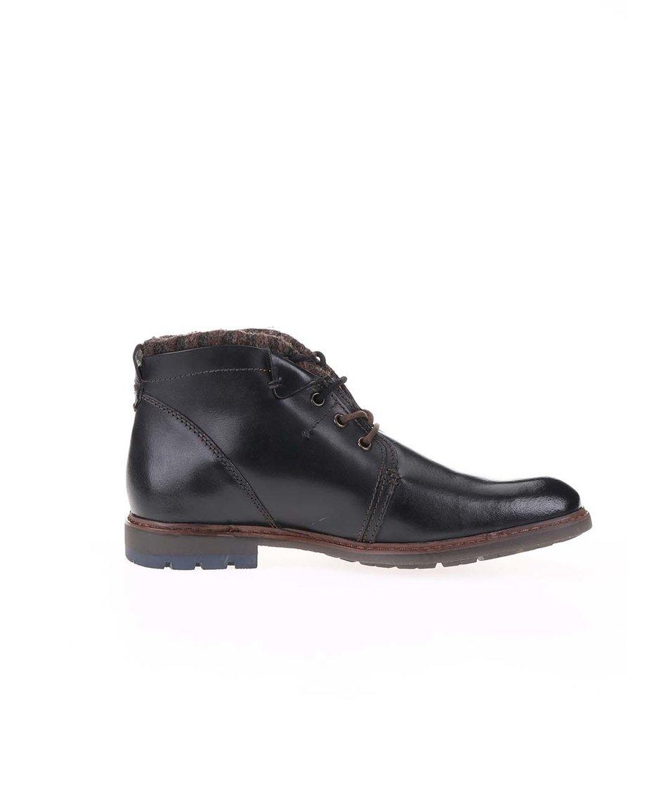 Černé pánské kožené kotníkové boty na zimu bugatti Roy