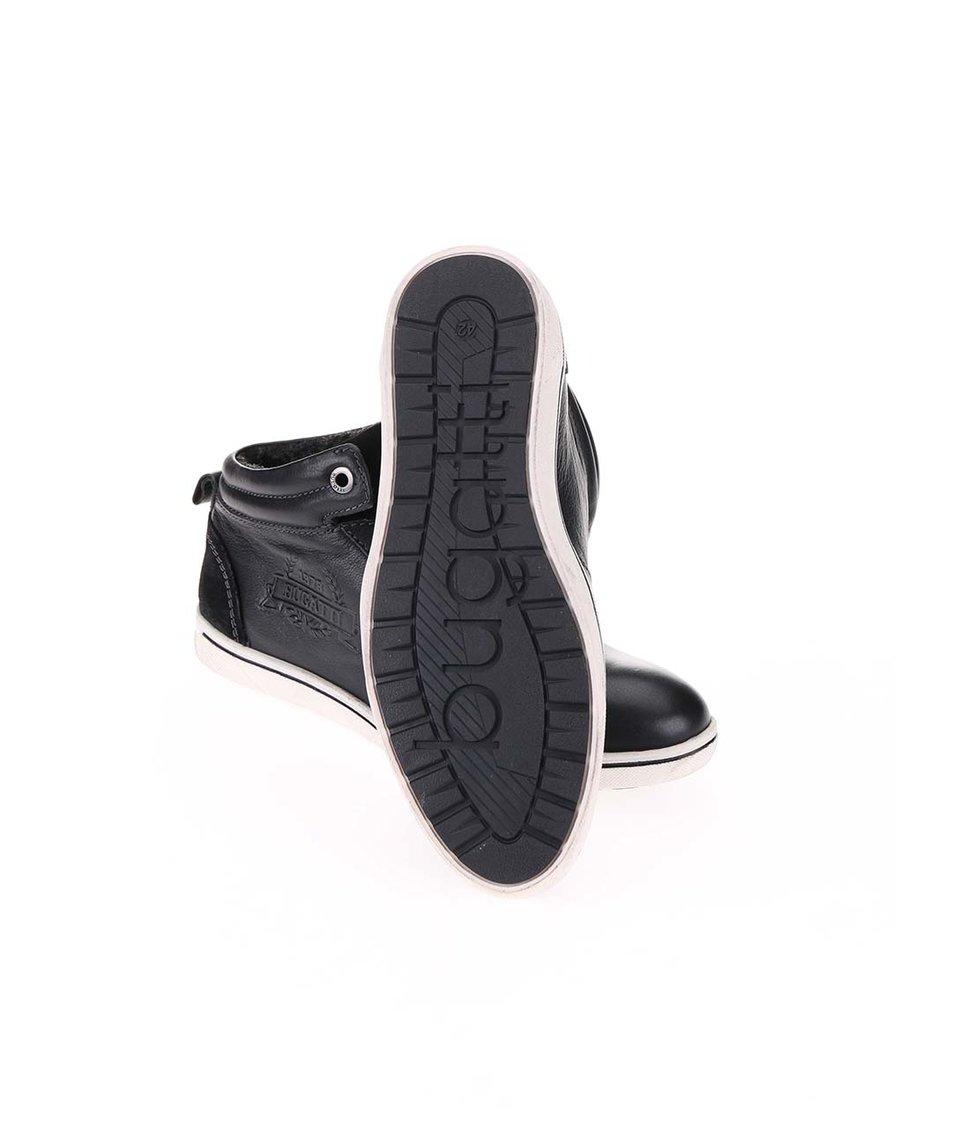 Černé pánské kožené tenisky s umělou kožešinou bugatti Baltic