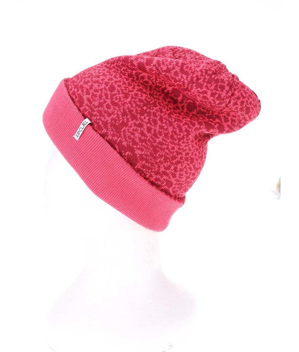 Růžová dámská oboustranná čepice se vzorem Rip Curl Leopard