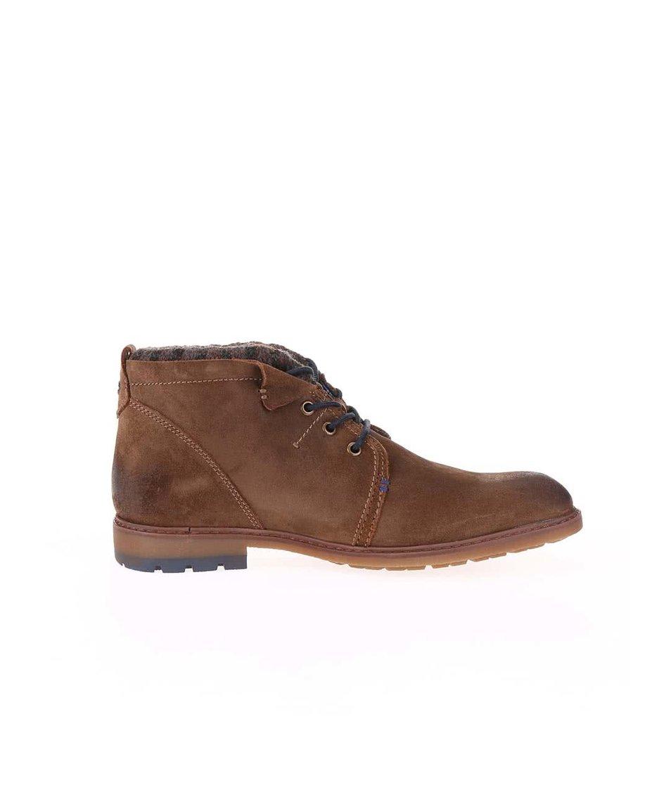 Hnědé pánské kožené kotníkové boty s umělou kožešinou bugatti Roy