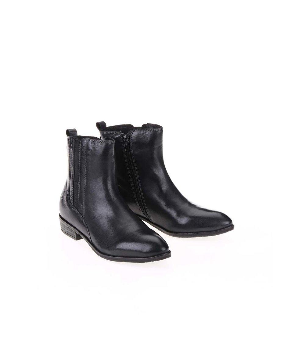 Černé kožené kotníkové boty bugatti Tizi