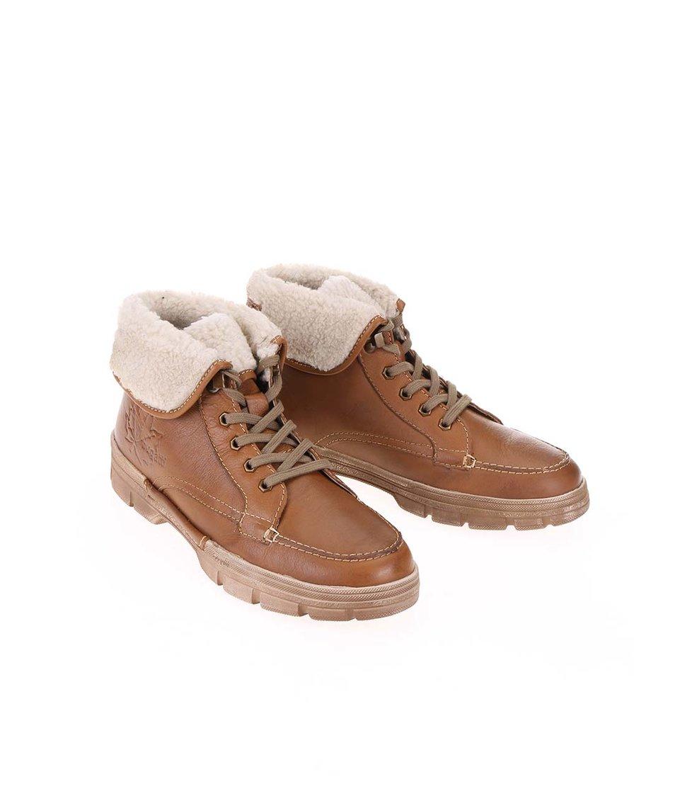 Hnědé pánské kožené kotníkové boty s umělou kožešinou bugatti Storm