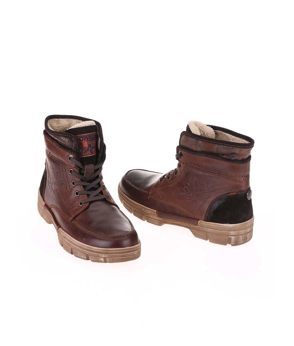 ... Tmavě hnědé pánské kožené kotníkové boty s umělou kožešinou bugatti  Storm ... d51343a773