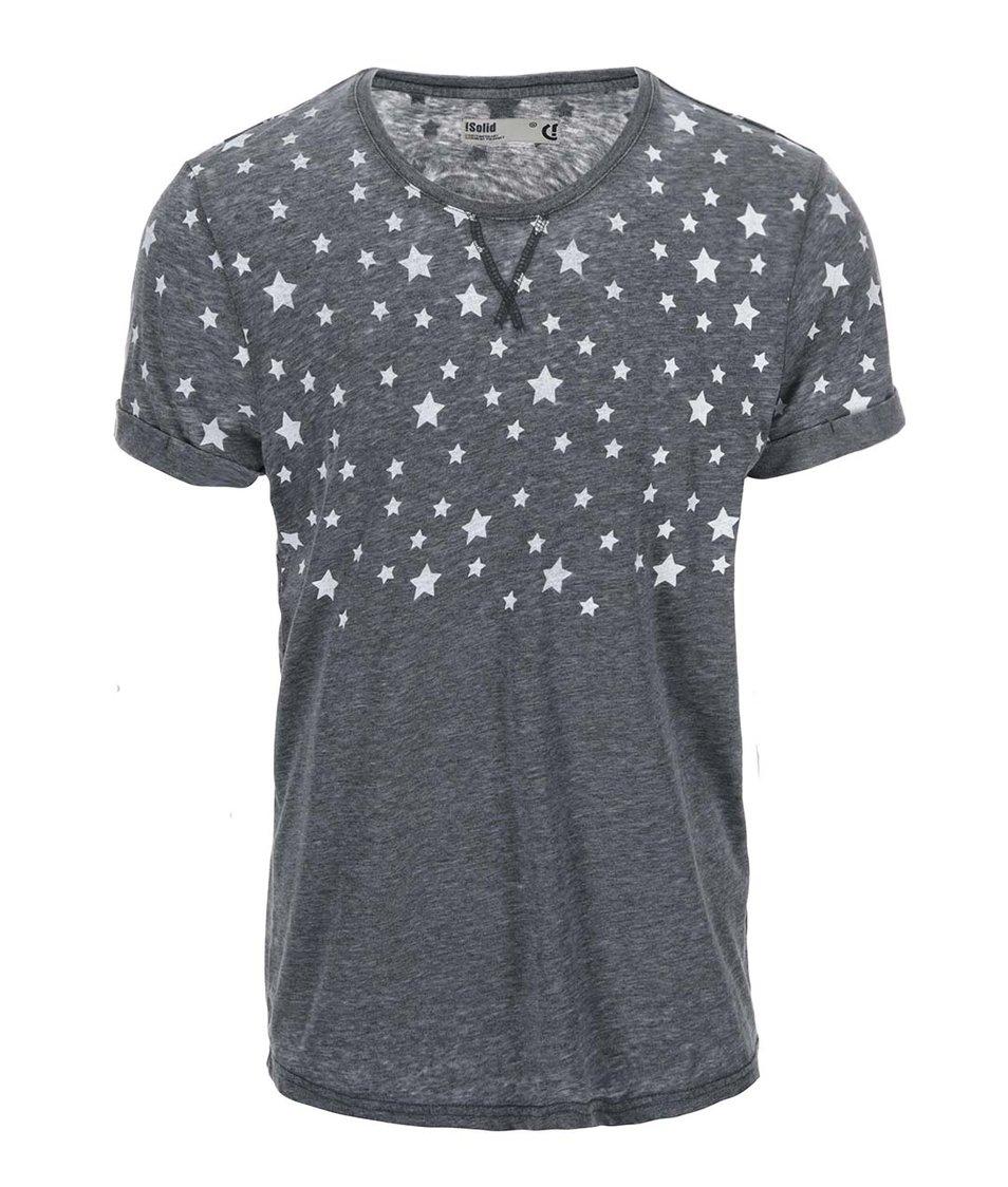 Tmavě šedé triko s bílými hvězdami !Solid Teyo