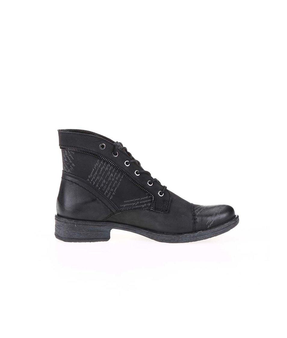 Černé dámské kožené šněrovací boty bugatti Kyra