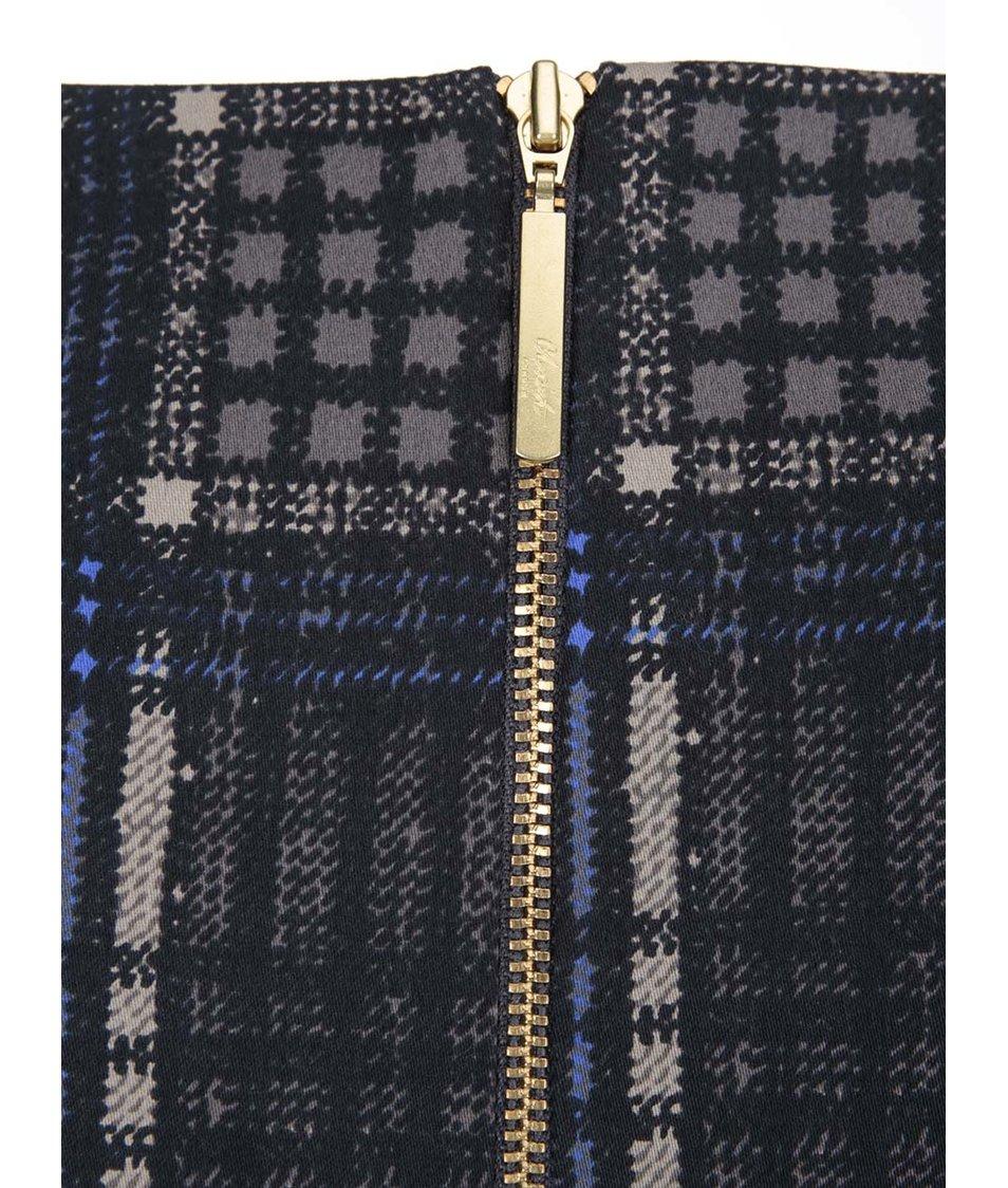 Modro-šedé kárované šaty s páskem Closet