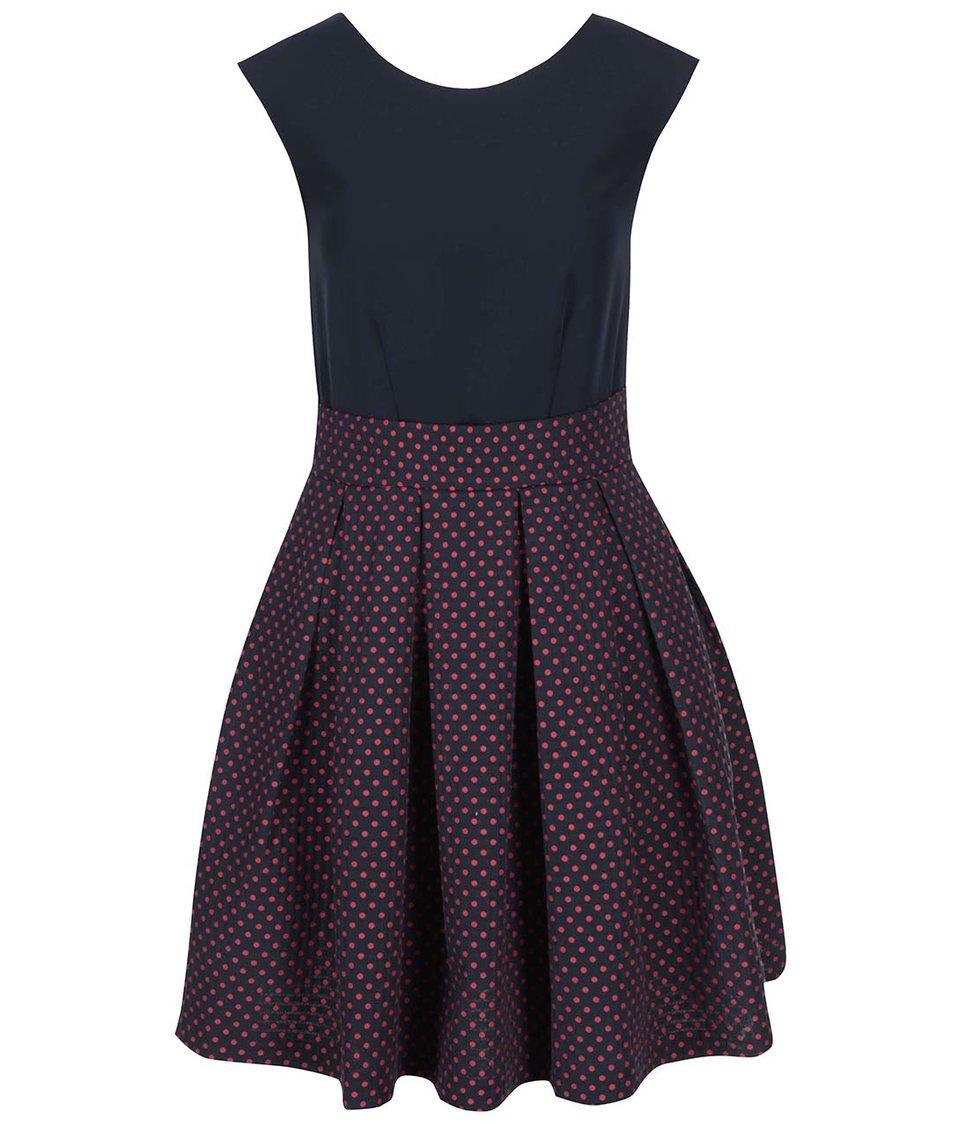 Červeno-modré šaty s puntíkovanou sukní Closet