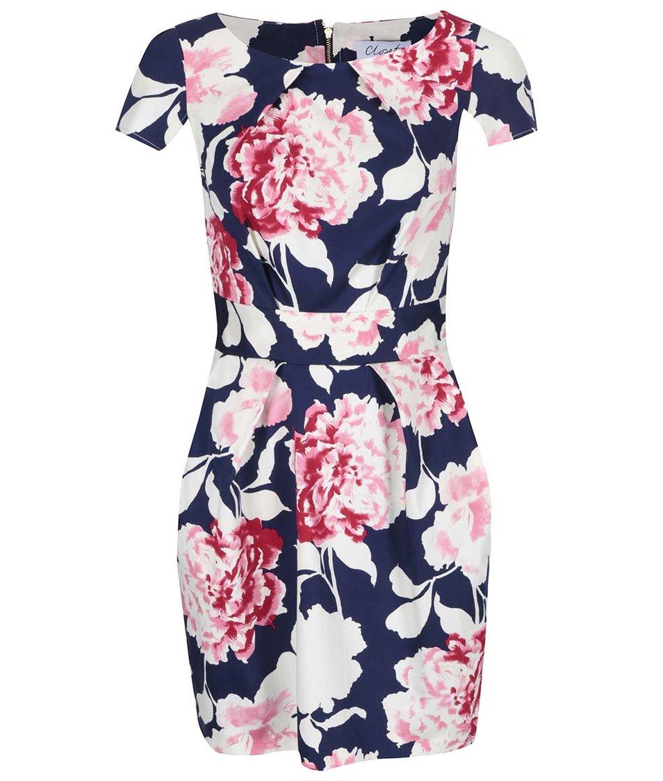 Růžovo-bílo-modré květované šaty Closet