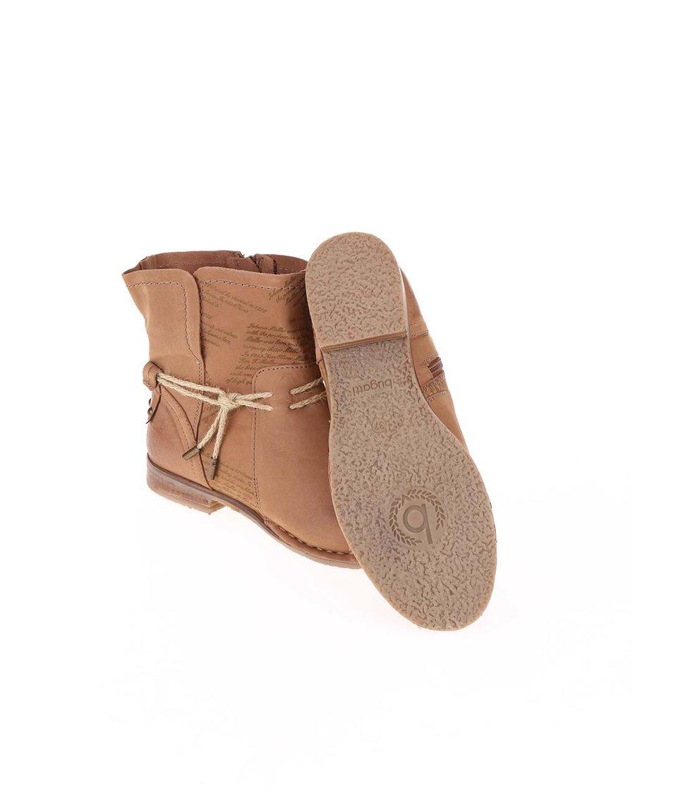 Hnědé dámské kožené kotníkové boty bugatti Karla