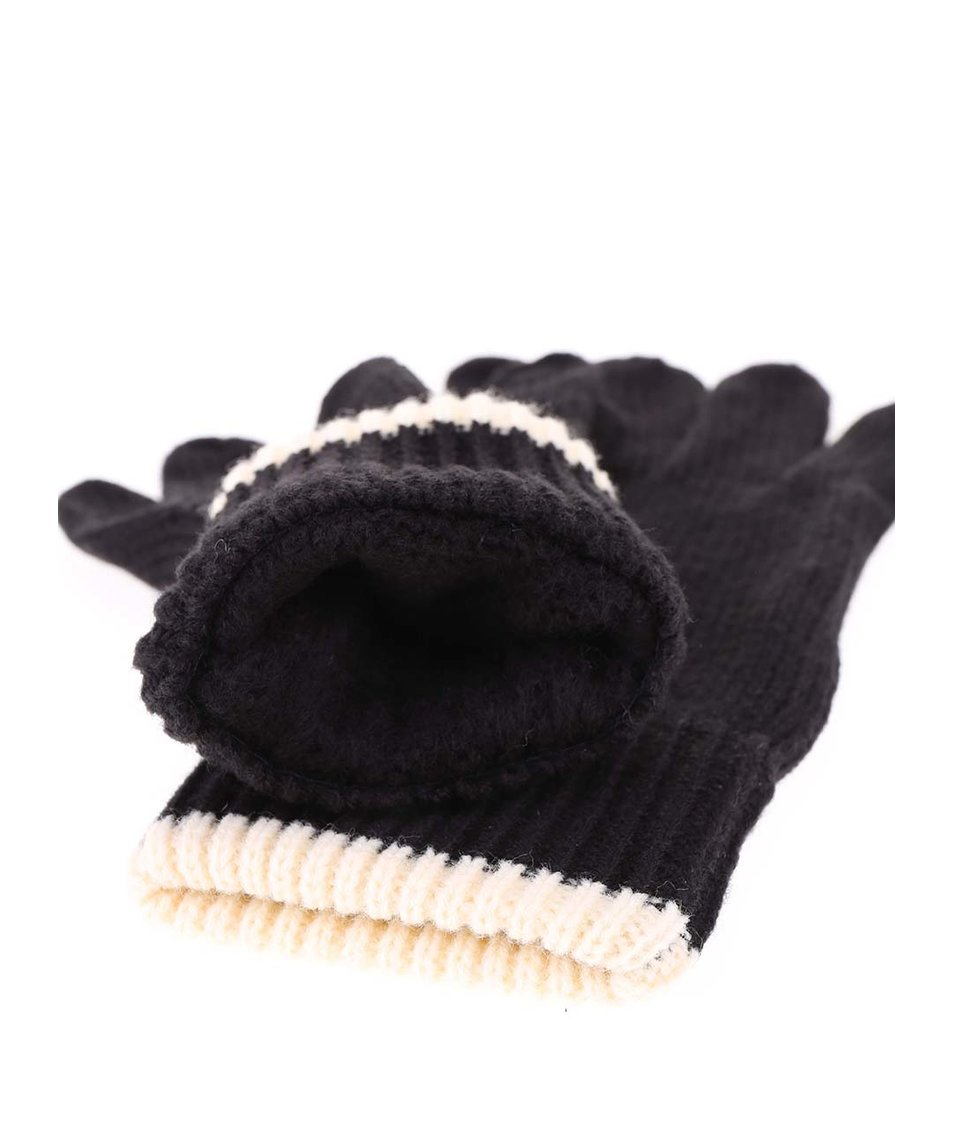 Černé dámské rukavice s krémovým lemem Rip Curl Rooney