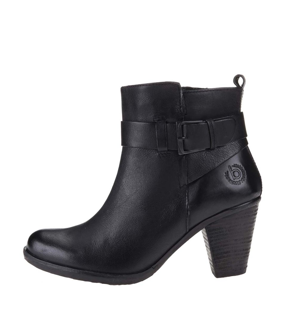 Černé dámské kožené kotníkové boty na podpatku bugatti Aurora