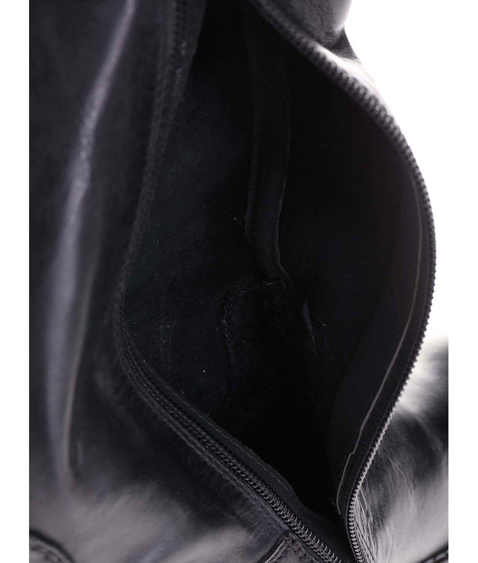 Černé kožené kozačky s reliéfem bugatti Shona
