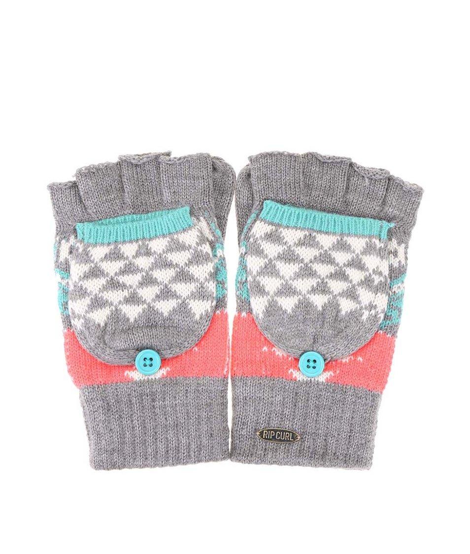 Šedé dámské rukavice s barevným vzorem Rip Curl Zairo