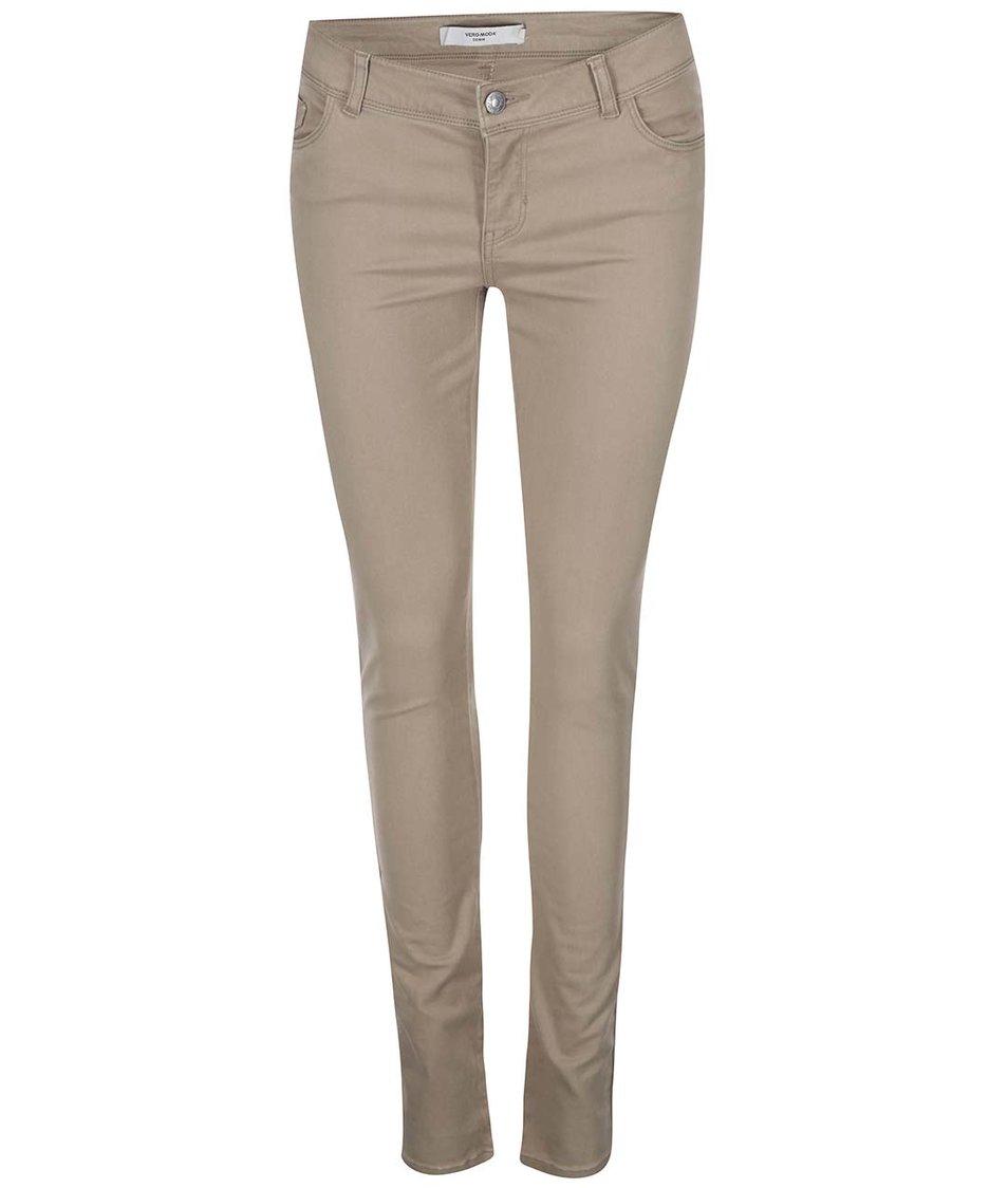 Světle hnědé slim kalhoty Vero Moda Five