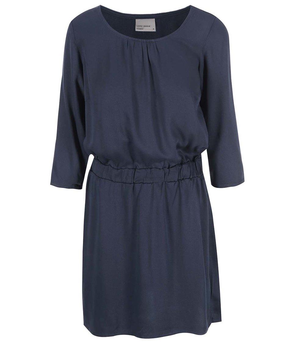 Tmavě modré šaty s 3/4 rukávy Vero Moda Measy