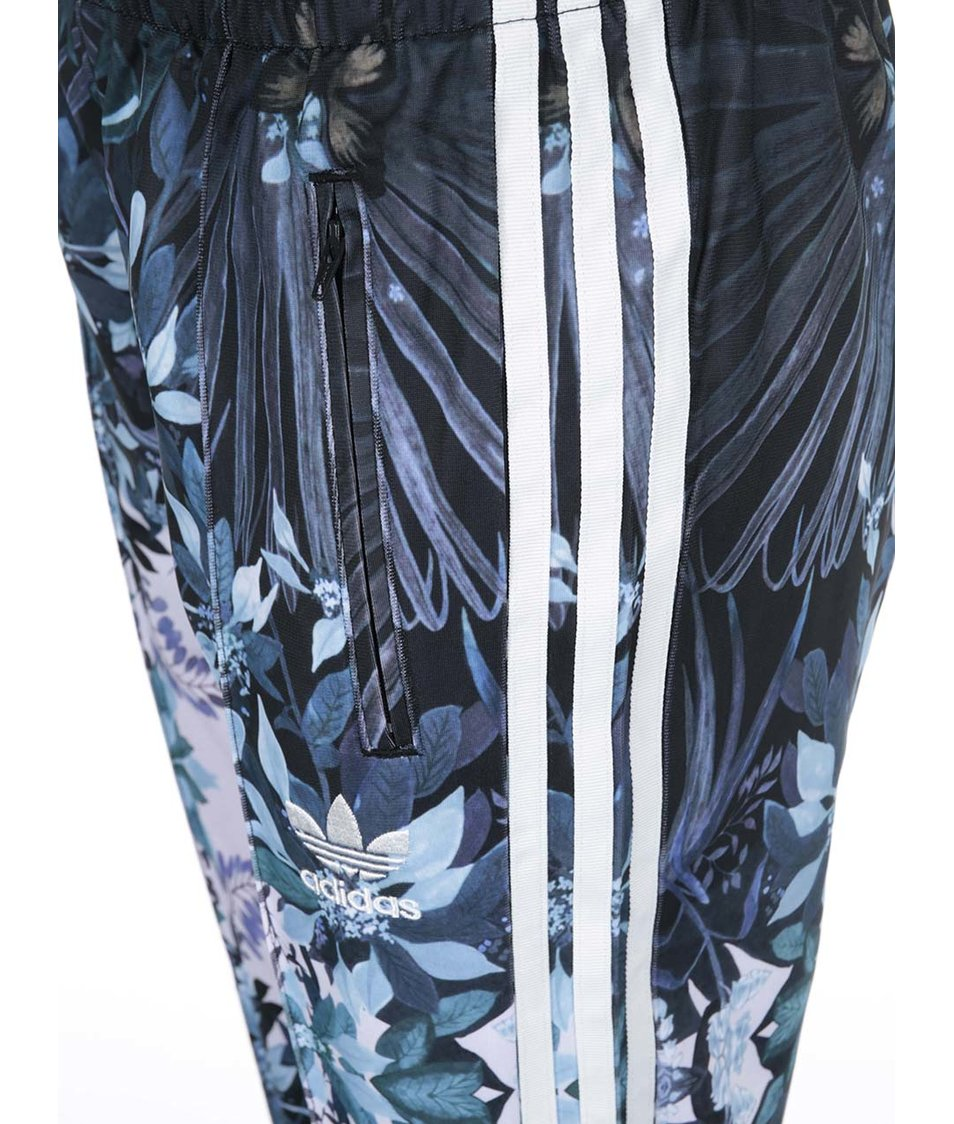 Modré dámské vzorované tepláky adidas Originals Romantic