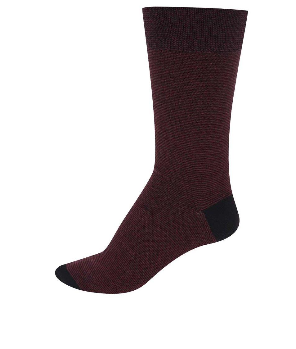 Černo-vínové ponožky s drobným pruhováním Claudio
