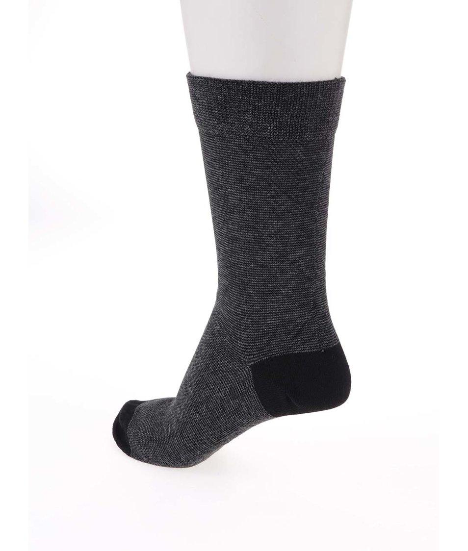 Bílo-černé ponožky s drobným pruhováním Claudio