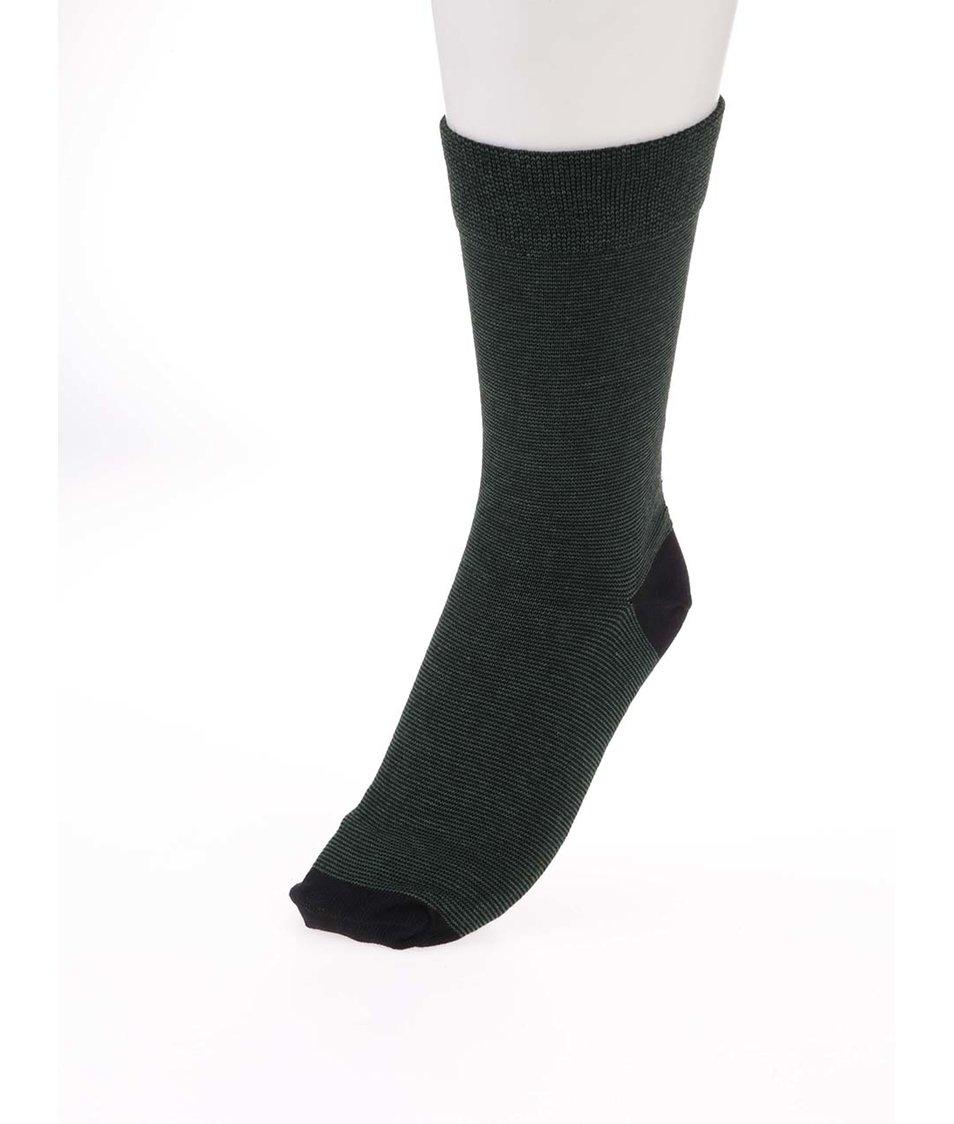 Černo-zelené ponožky s drobným pruhováním Claudio