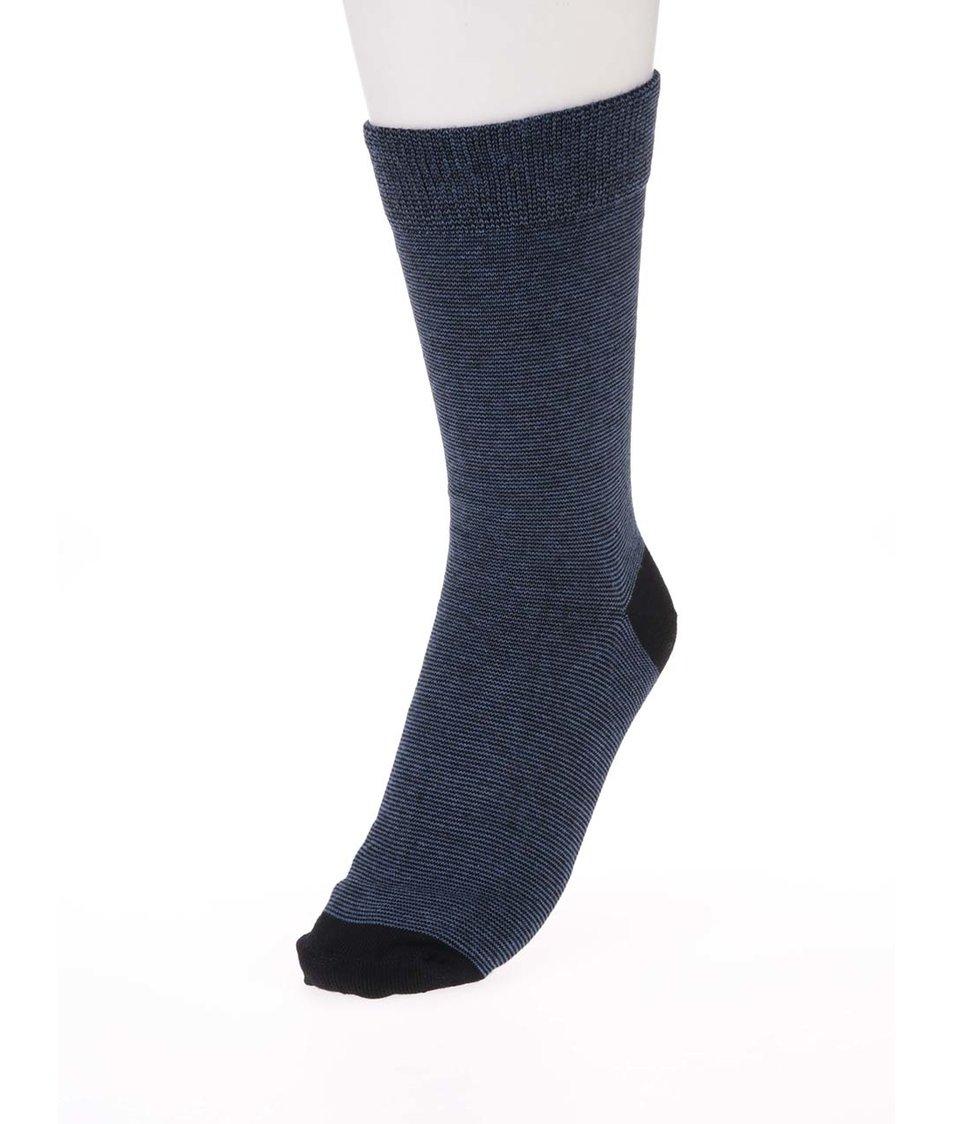 Černo-modré ponožky s drobným pruhováním Claudio