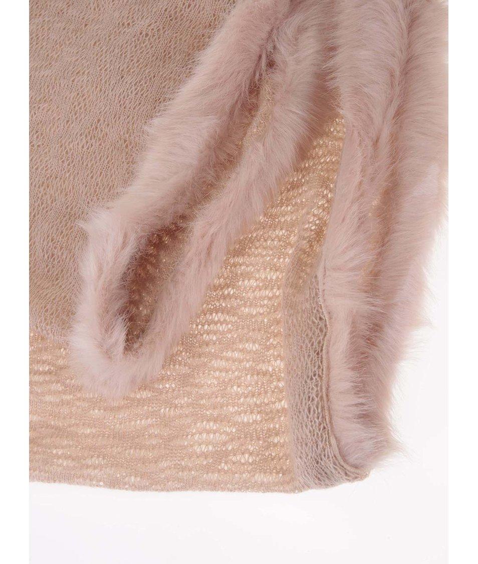 Béžovorůžová dutá šála s kožíšem Dorothy Perkins