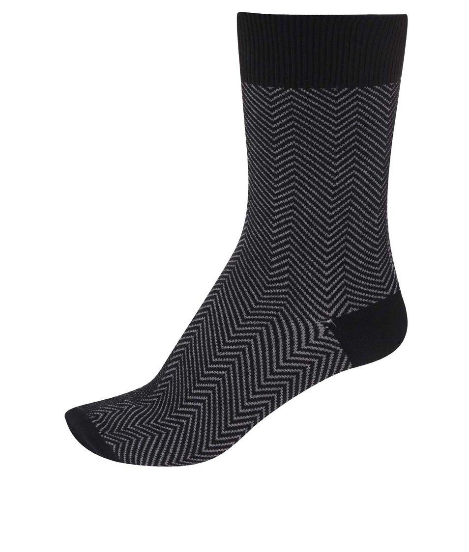 Šedo-černé pánské bambusové ponožky se vzorem Claudio