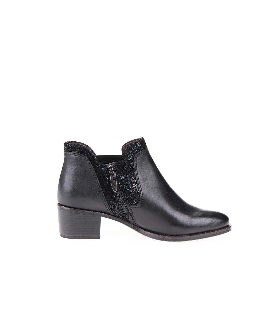 Černé kožené chelsea boty na nízkém podpatku Tamaris