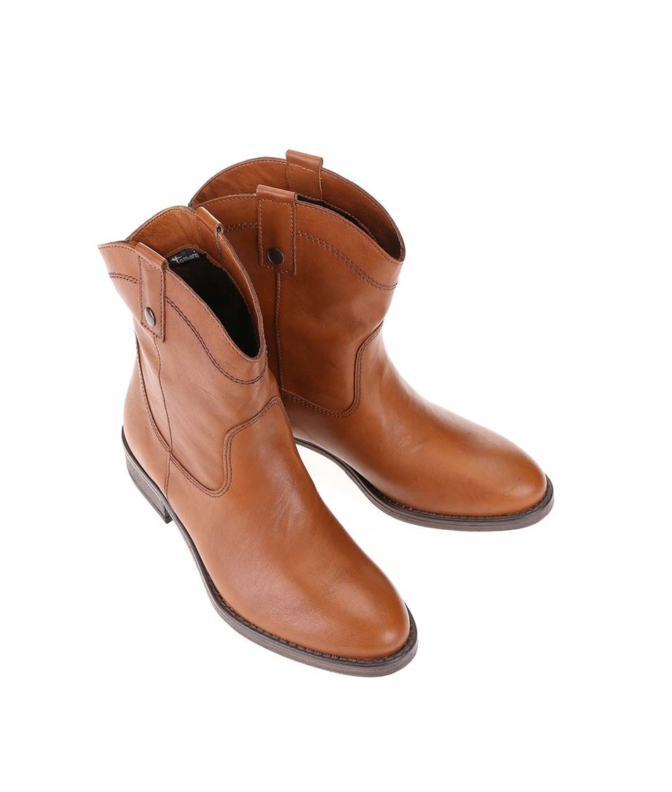 Hnědé kožené prošívané kotníkové boty Tamaris