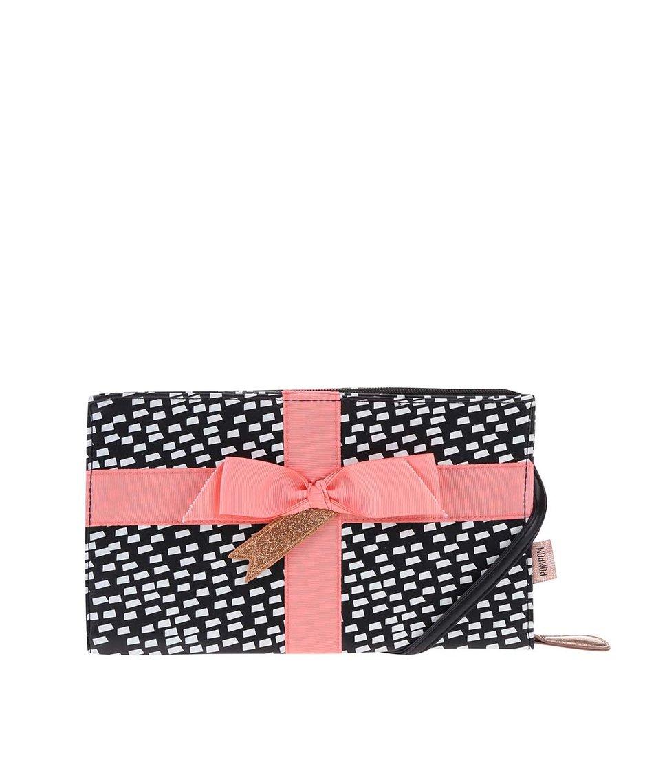 Bílo-černá menší kabelka s růžovou mašlí Disaster Pompom Tutti