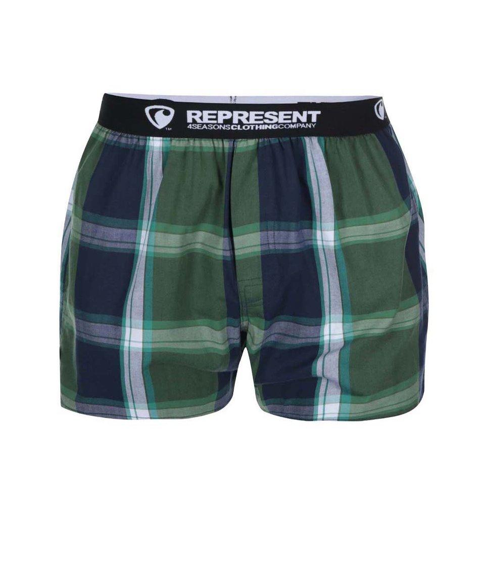 Zelené kostkované trenýrky s gumou Represent Mikebox