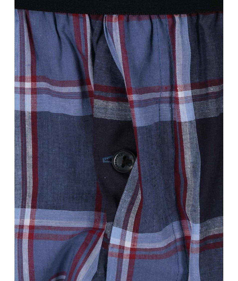 Tmavě modré kostkované trenýrky s gumou Represent Mikebox
