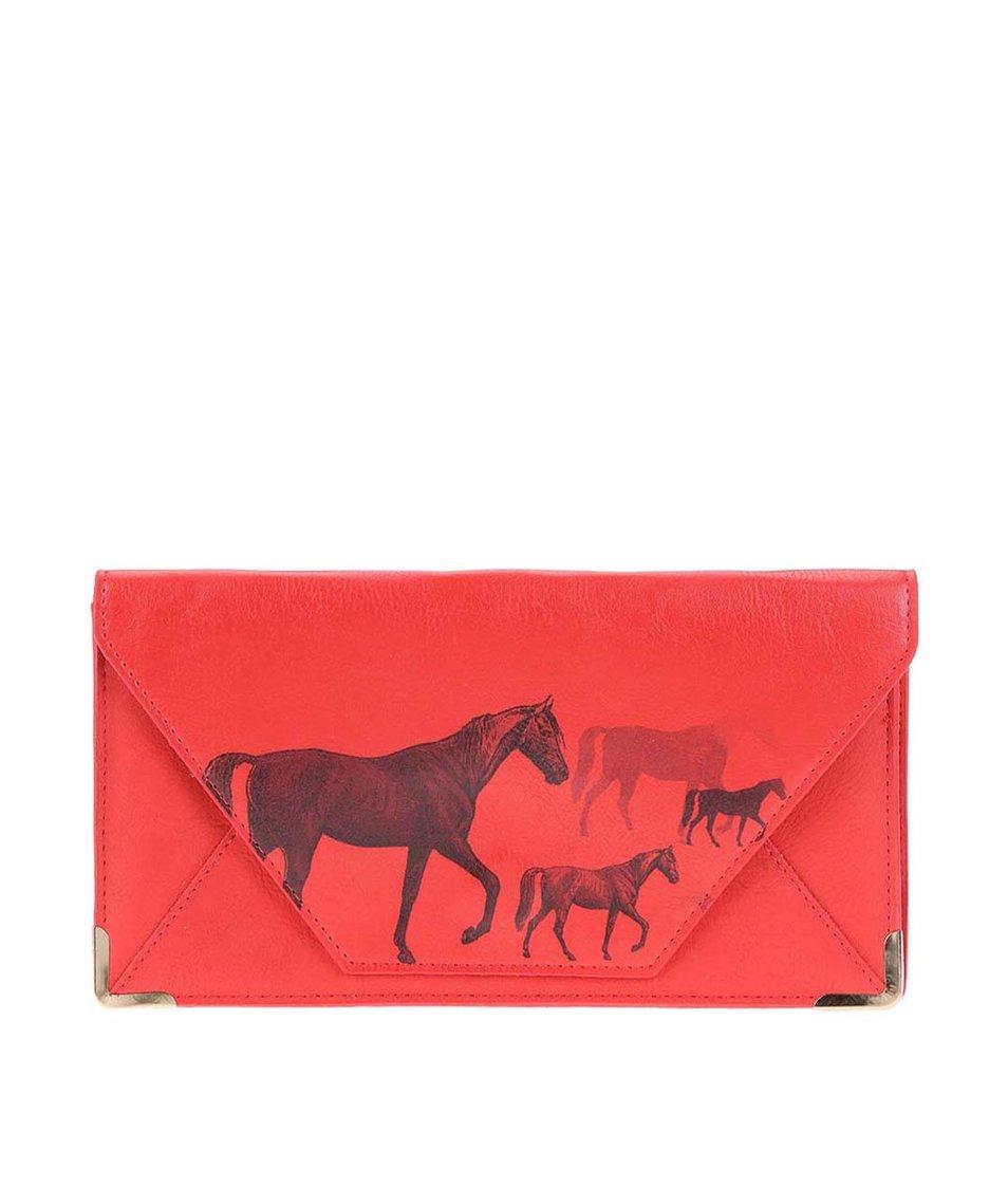 Červená cestovní peněženka s potiskem koní Disaster Heritage and Harlequin